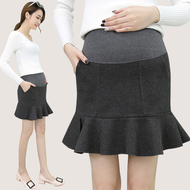 Pengpious 2018 autumn winter pregnant women abdomen fishtail skirt Korean style high waist pleated woolen belly skirts fashion