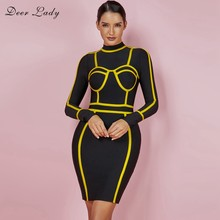Deer Dame Frauen Runway Winter Kleid 2019 Neuheiten Schwarz Bandage Partei Kleid Langarm Damen Bodycon Verband Vestidos(China)