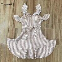 Truevoker Summer Designer Dress Women S High End Fashion Off The Shoulder Khaki Striped Printed Tied