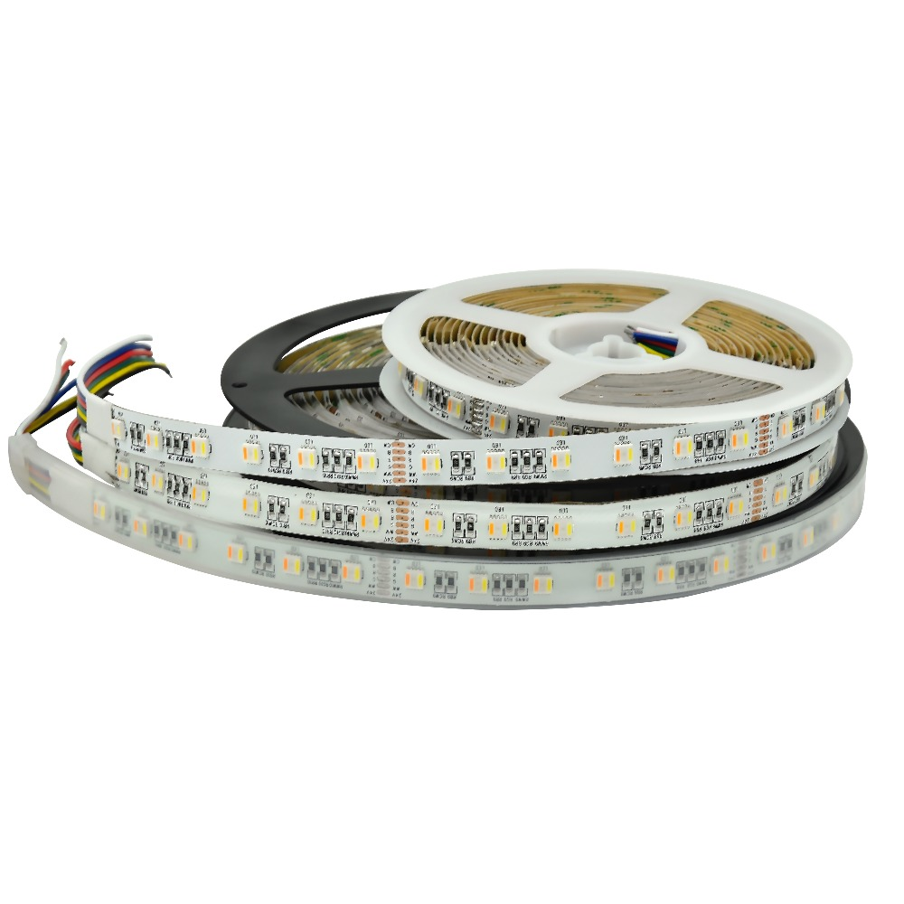 Nouvelle bande de LED RGB + CCT SMD 5050 RGB LED bande 5 M 300 LED DC 12 V RGBCCT 5 en 1 bandes de lumière LED Fita flexibles