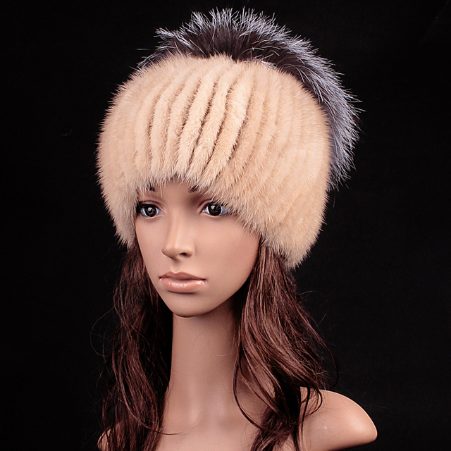 Genuine Fur Women Hat Cap Winter Real Mink Fur With Pom Fox Fur Balls Hat Caps For Women Russian Ushanka Cap Hat Beanies