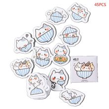 45pcs/box Cute Cat Stationery Stickers Sealing Label Travel Sticker DIY Scrapbooking Diary Planner Albums Decorations