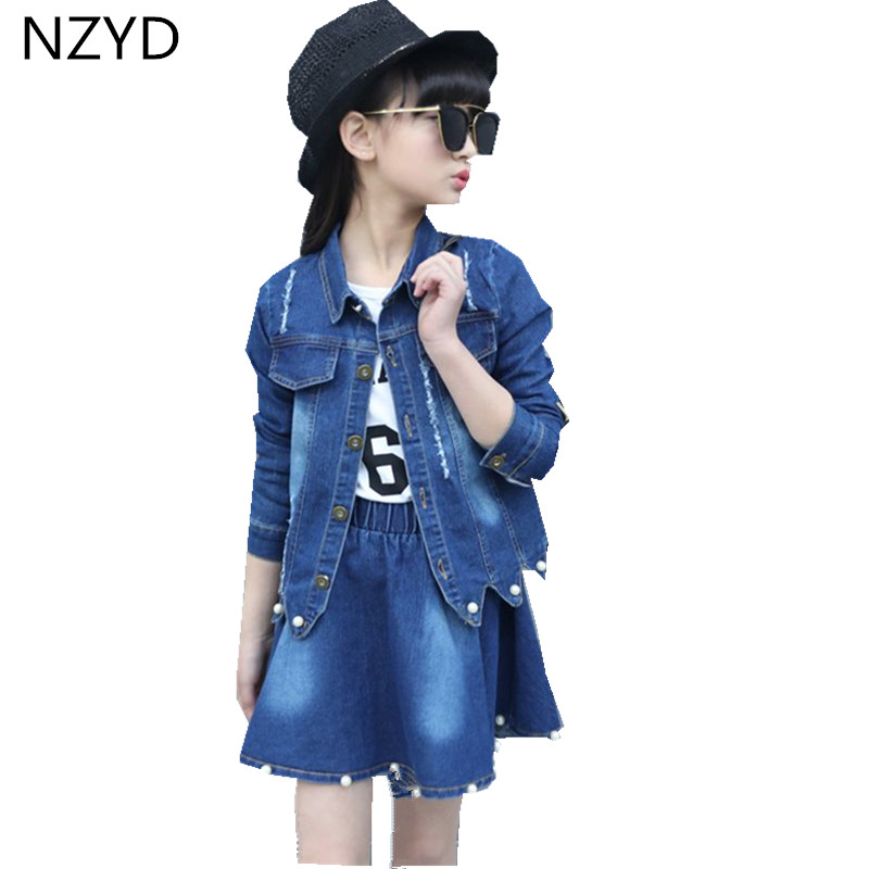 New Spring Autumn Girl Cowboy Suit 2017 Han edition Denim Jacket Coat + Short Skirt Casual Kids Clothes 4-14 Years Old 2PSC Set 2016 autumn and spring new girl fashion cowboy short jacket bust skirt two suits for2 7 years old children clothes set