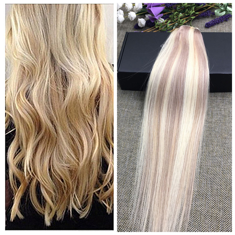 Full Shine Piano Color 18 /613 Blonde One Piece Clip In ...