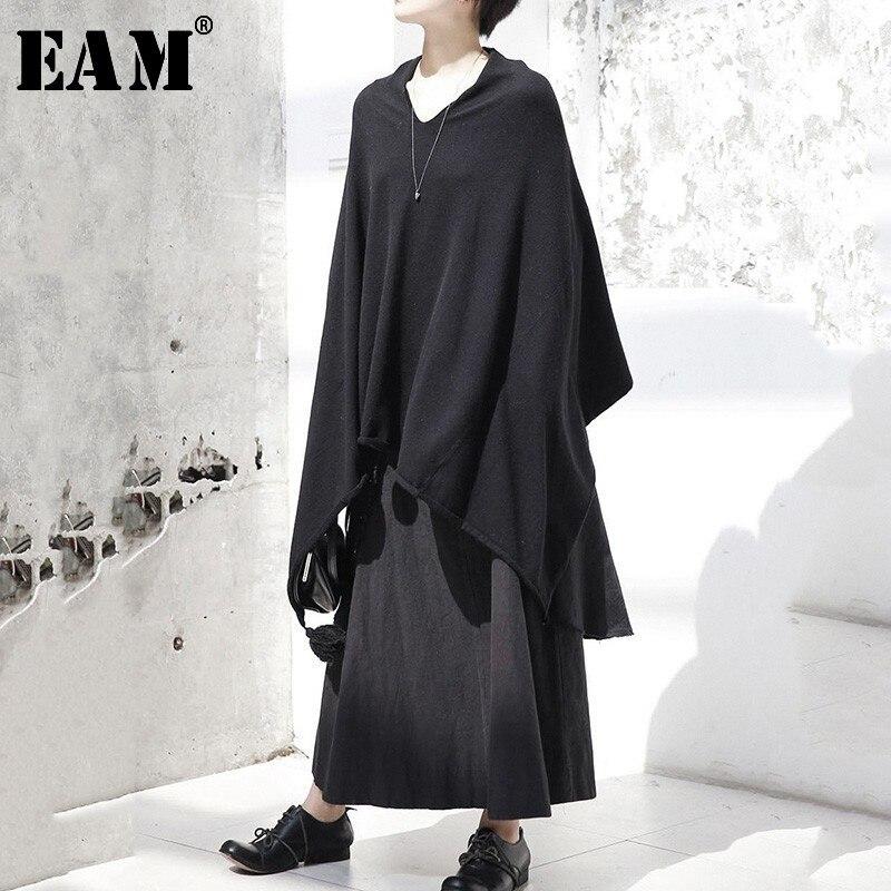 [EAM] 2019 New Autumn Round Neck Long Sleeve Beige Loose Zipper Split Joint Big Size Knitting Sweater Women Fashion Tide WD4460