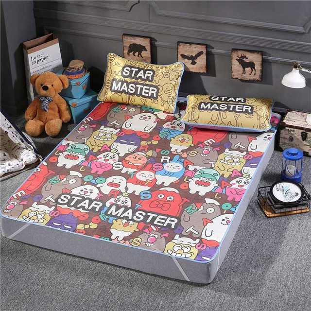 SongKAum Fashion Star Master Cartoon 3pcs Tencel Bed Sheet Bamboo Full Queen  Size Summer Cool Bedding