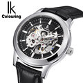 IK Colouring Mens Watches Top Brand Luxury Auto Mechanical Skeleton Dial Leather Belt Men's Golden Watches Waterproof 100M