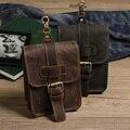 High Quality Men Genuine Leather Waist Bag Vintage Casual Crazy Horse Leather Travel Fanny Pack Belt Loop Hip Bum Bag NK0016