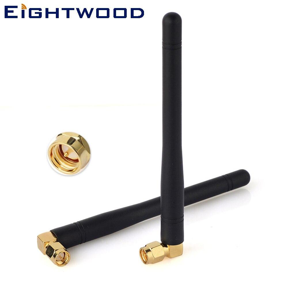 Eightwood 2PC bilradioantenn antenn 433Mhz 2dbi SMA-plugg Hane Rätt vinkel för larm, ISM, fjärrkontroll, säkerhetssystem