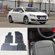 High Quality Full Set All Weather Heavy Duty Black Rubber Floor Mats For Peugeot 508