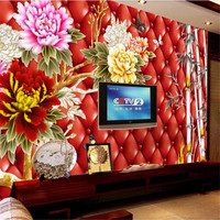 Custom Mural 3D Chinese Style Peony Wallpapers for Walls 3D Bamboo Red Luxury Wall Covering Living Room Home Decor Theme Hotel