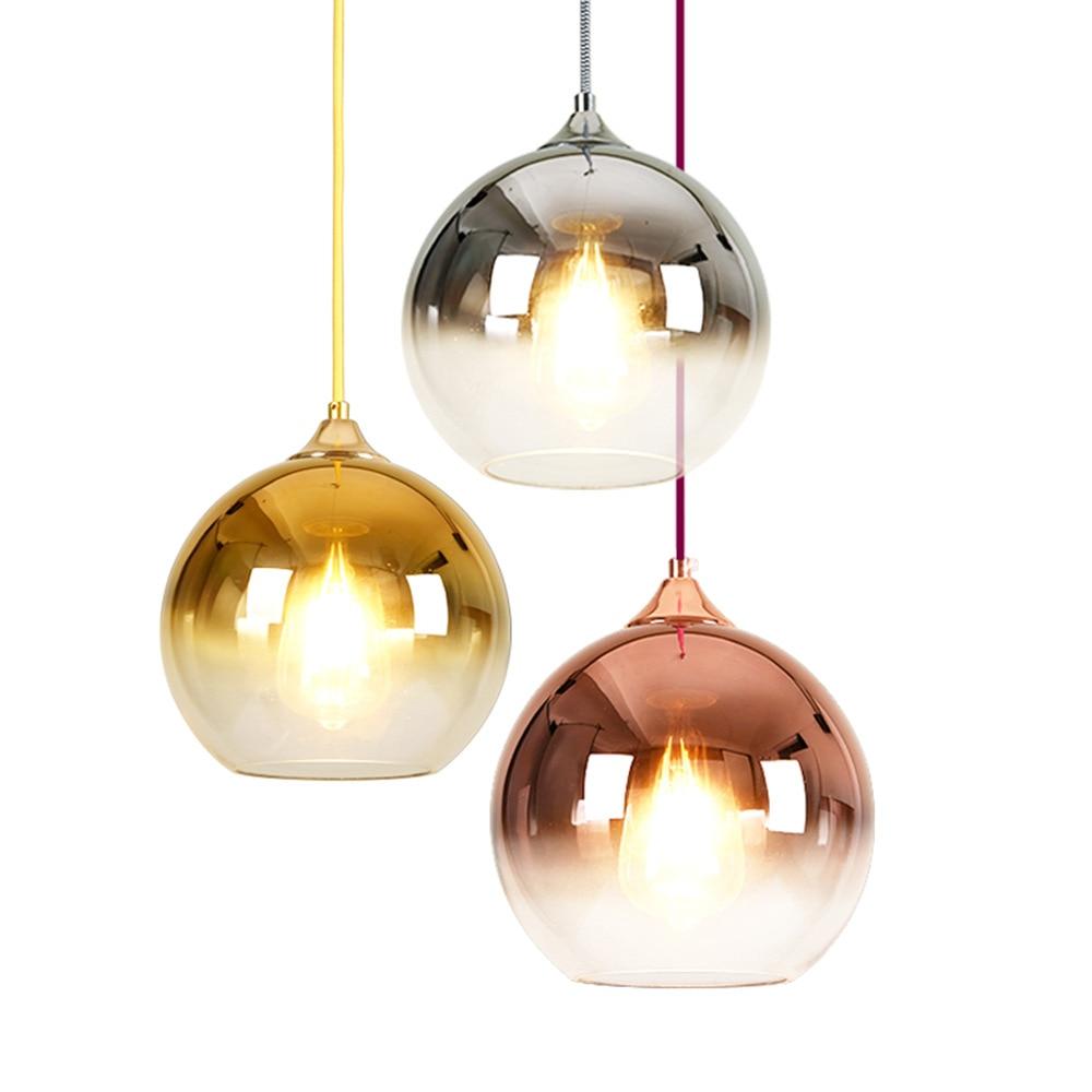 BLUBBLE Spherical Pendant Lights Dia20cm/25cm/30cm Geometric Led Pendant Lamp Hotel Hall Parlor Bedrooms Glass Hanging Lamp