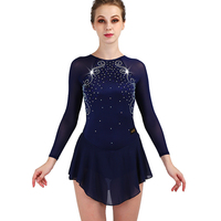 Figure Skating Dress Women Deep Blue Rhinestone Long Sleeve Elasticity Ice Skating Dresses Girls Professional Performance ZH8041