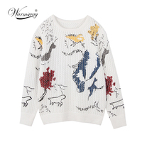 Pull Femme 2018 Spring Summer Hollow out Women Sweaters And Pullovers Print Thin Knitting Mohair jumper Female C 057