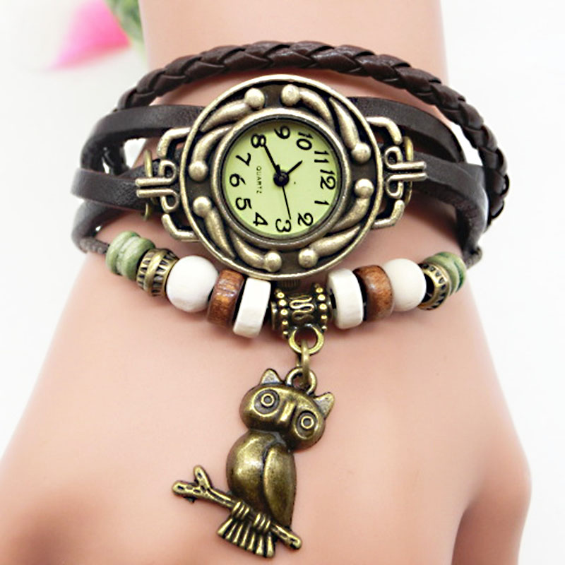 LNRRABC Vintage High Quality Owl Pendant Leather Rope Watch Bracelets For Women Summer Jewelry Ladies Accessories Gifts