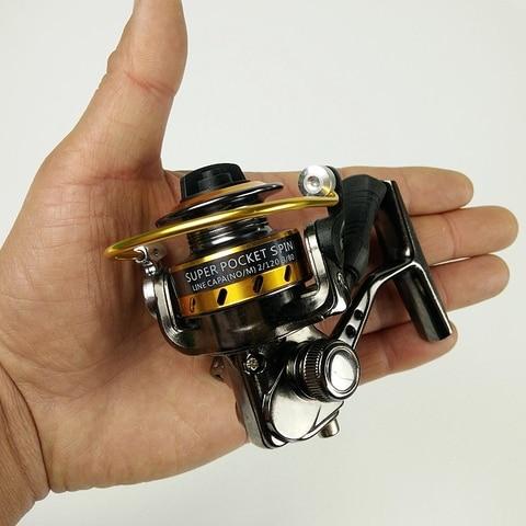 4 rolamentos de metal mini molinete de pesca molinete palma tamanho pequeno bolso roda pesca