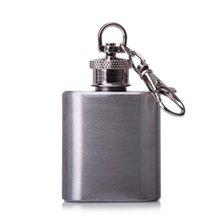 FLST 1 oz Silver Portable Stainless Steel Hip Flask Keychain