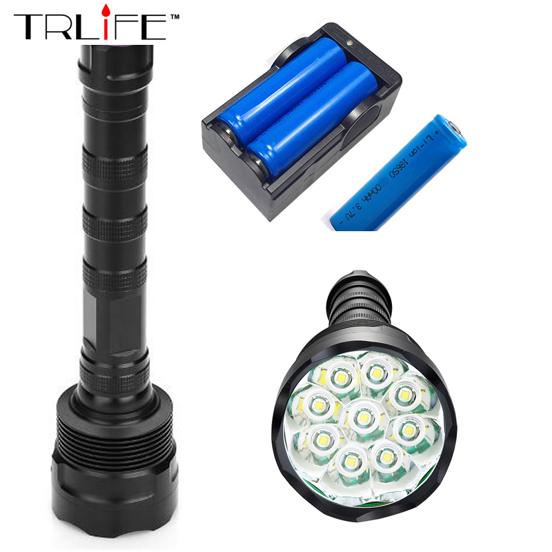 9T6 Torch LED Flashlight 30000 Lumens Lamp Lights 9 XM-L T6 Flash Light Floodlight Camping Lantern Hunting + 3x 18650 +Charger anjoet 28 x t6 led 40000 lumens high power 5 modes glare flashlight torch working lamp floodlight accent light camping lantern