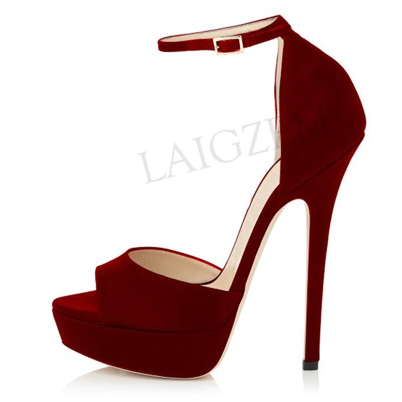 LAIGZEM SEXY Frauen Sandalen Ankle Strap Heels Stiletto Ferse Plattform Party Sommer Sandalia Schuhe Damen Frau Große Größe 34-52