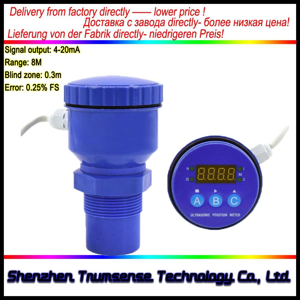Ultrasonic Level Meter/LED Display Ultrasonic Sensor / Non-contact Level Measurement Device 10m Range 24V Power 4-20mA Output