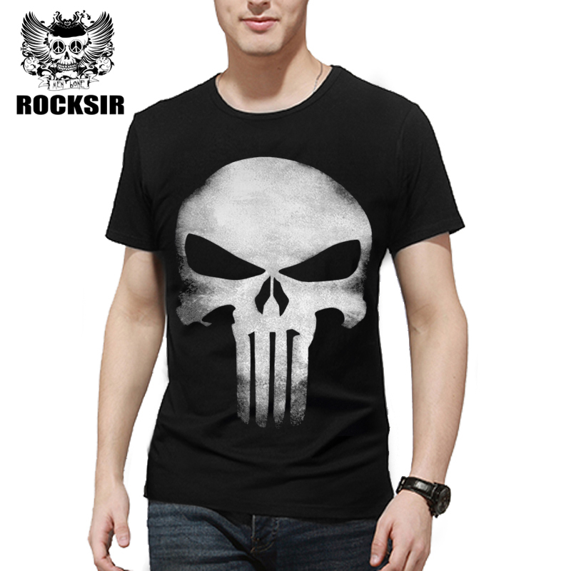 Rocksir 3D Schedel T-shirt Heren Katoen Tops Tee The Punisher Gedrukt - Herenkleding