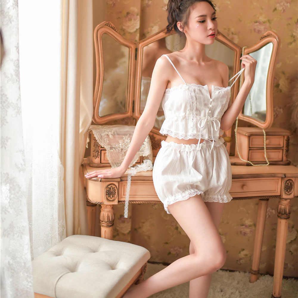 2019 Pijamas Ternos de Algodão Pijamas Set Mulheres Branco Sexy Sleepwear Macio Moda Camisas + Shorts Roupa Interior Sem Mangas Rendas Pijama