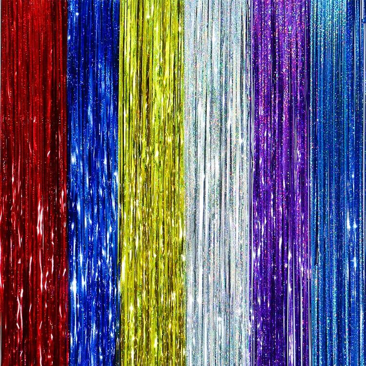 5pcs/lot 1Meter Gold Foil Fringe Tinsel Curtain Tassel Garlands Wedding Photography Backdrop Birthday Party Decoration