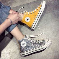 Bling Luxury Designers Shoes Women Fashion 2019 Sneakers Women Canvas Shoes High Top Casual Shoes Brand Lace Up Ladies