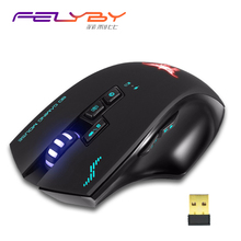 FELYBY Professional Anti-fingerprint 2.4G Wireless Gaming Mouse mice Adjustable 2400DPI maus sets with mouse pad and camera