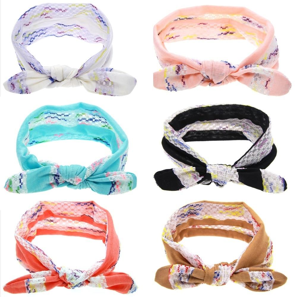 Yundfly New Cute Kids Soft Lace Cotton Rabbit Ears Knot Headband Stripe Flower Bow Tie Little Girls Hair Accessories