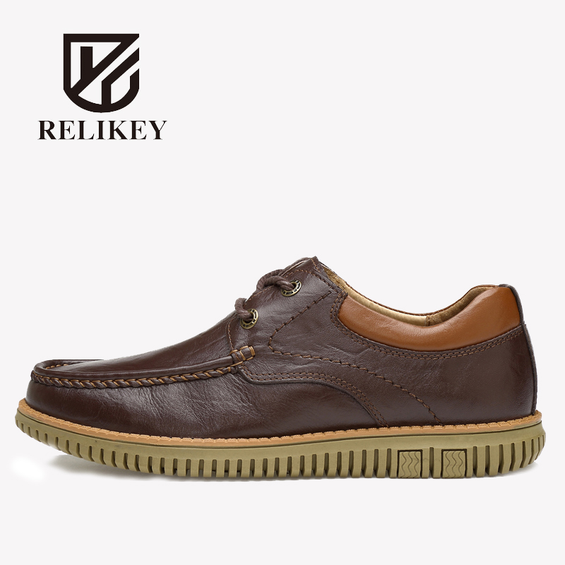 RELIKRY Brand Solid Genuine Leather High Quality Casual Men Shoes Full Grain Leather Breathable Lace-Up Flat Business Men Shoes 2016 new high quality genuine leather men business casual shoes men woven breathable hole gentleman shoes brand taima 40 45
