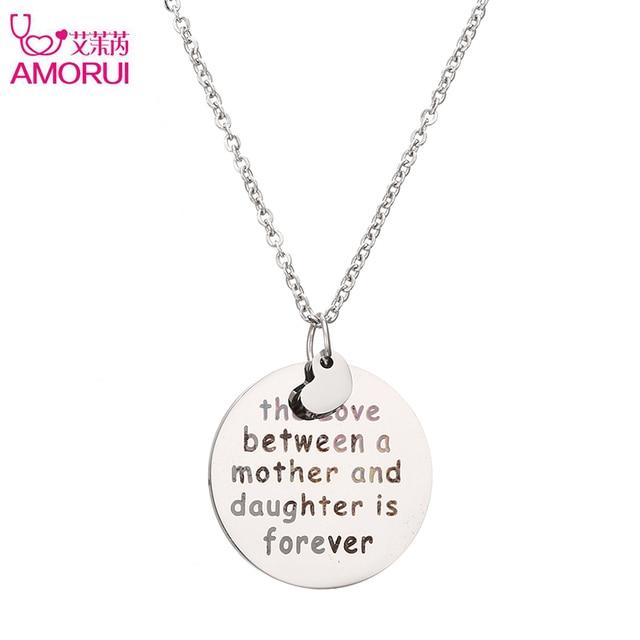 elige lo último color rápido diseño de moda AMORUI Acero inoxidable corazón de plata collar amor entre madre e hija es  siempre colgante collar para mujer regalo de madre