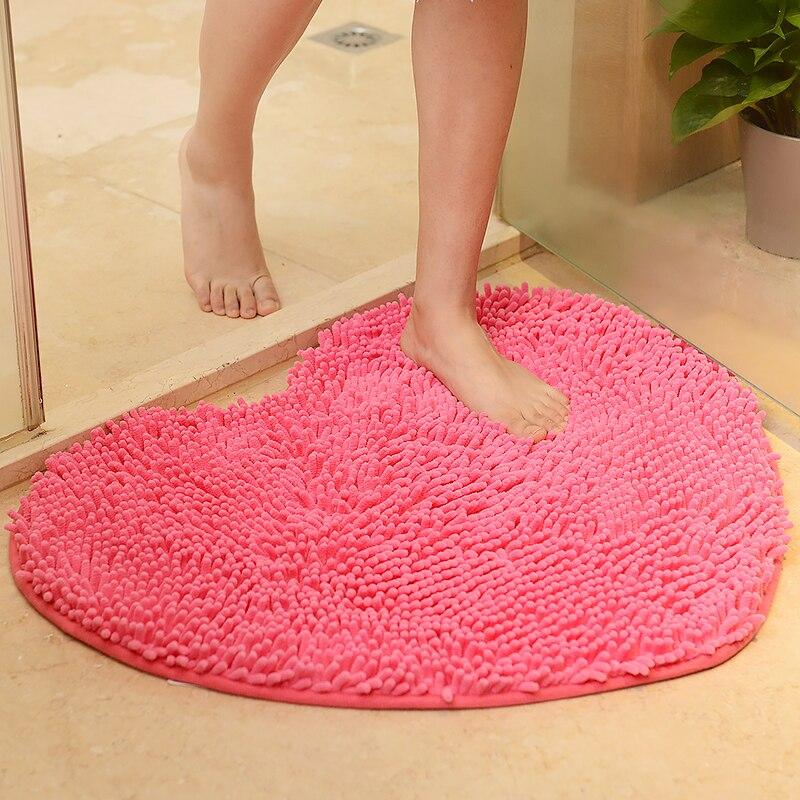 love heart shape bathroom carpet pink green red bath mats