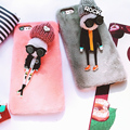 2 PCS Lover Couple Case On For iPhone 6 6s & iPhone 6 6s  plus & iPhone 7 7 Plus 3D Doll Plush Cloth Protective Hard Back Cover