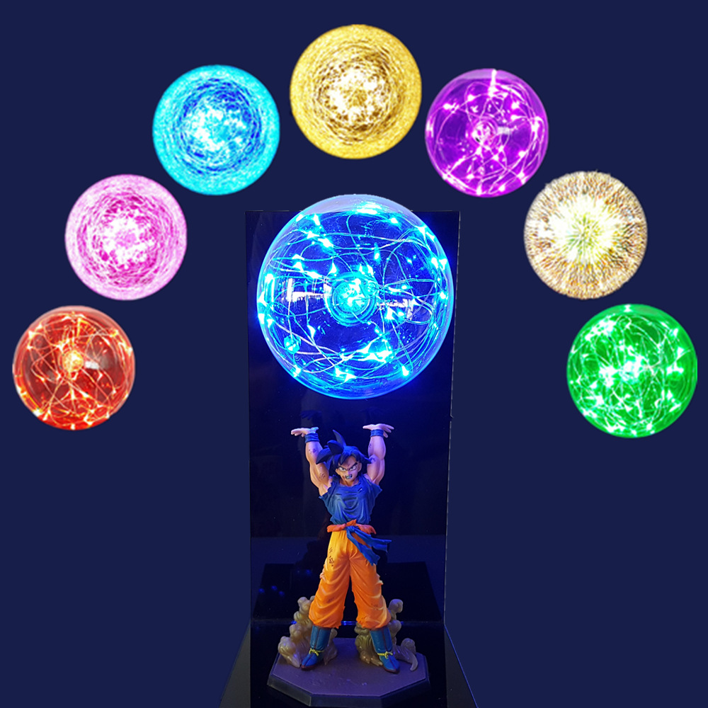 Goku de Dragon Ball Z bomba de espíritu llevó la luz de la lámpara de la bola del dragón del Super Goku luces de la noche lámpara Led Bola de Dragón