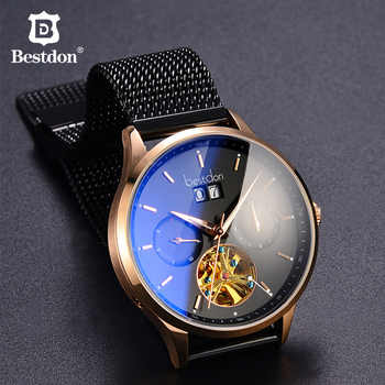 Bestdon Curved Mechanical Watch Men Switzerland Top Luxury Brand Automatic Watches Waterproof  Blu-ray Relogio Masculino 7143-7 - DISCOUNT ITEM  50% OFF All Category