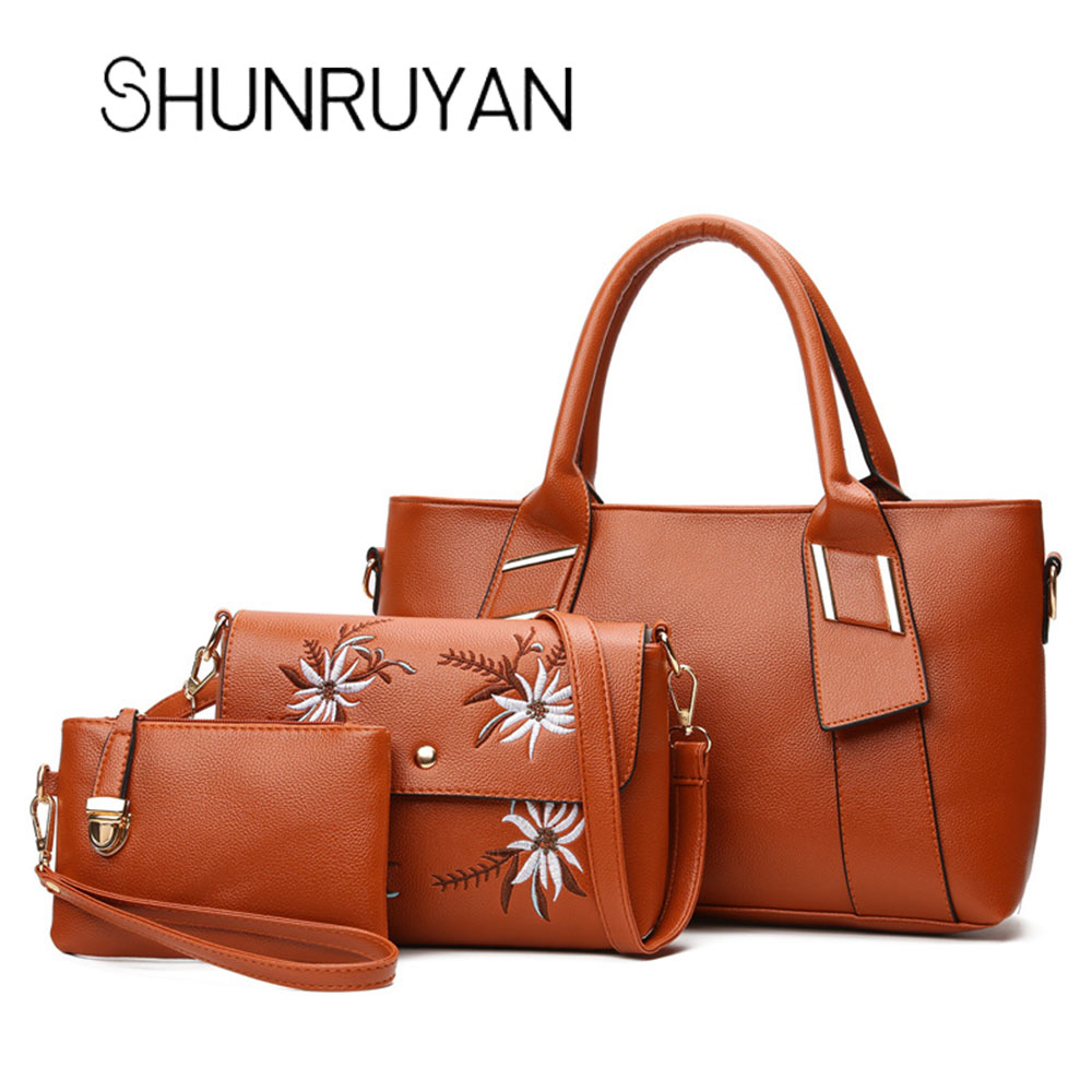 SHUNRUYAN 3 pièces/ensemble mode femmes sac à main broder fleurs PU cuir sac à main rouge Composite sacs fourre-tout élégant bandoulière sacs
