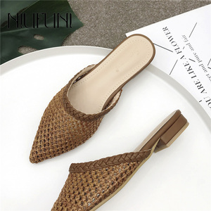 Image 1 - Womens Pointed Low Heel Slippers NIUFUNI Summer Cane Woven Rattan Grass Sandals Beach Shoes Womens Slippers Flat Shoes Slides
