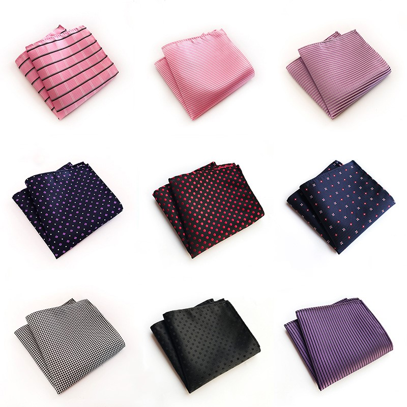 New Silk Handkerchief For Man Pink Red Black Grid Dot Striped Men's Square Pocket  Wedding Party Business Suit  Handkerchief