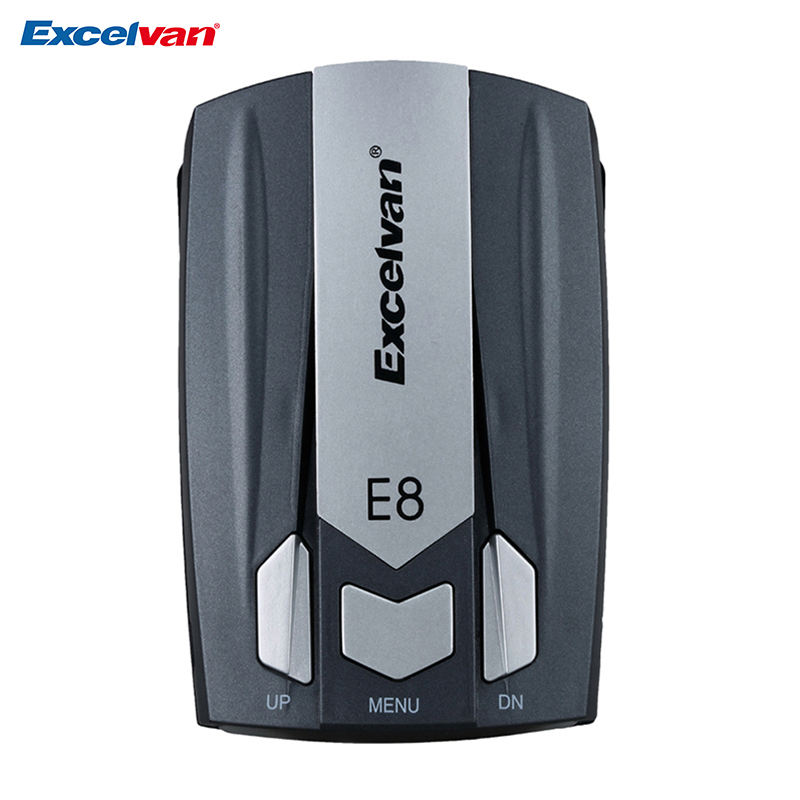 Excelvan Clear Stock E8 Car Radar Detector 360 Degree 16 Band Speed Safety Anti-Police Scanning Advanced Voice Alert Laser LED