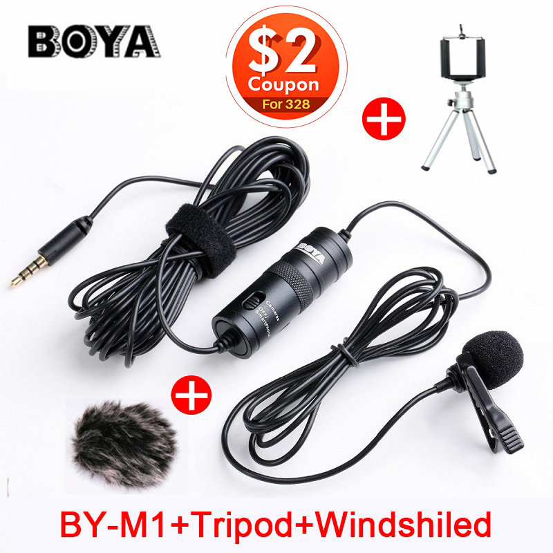 BOYA BY-M1 Lavalier Condenser Microphone for Canon Nikon DSLR Camcorders,microphone omnidirectional for iPhone X 7 Plus Zoom H1N