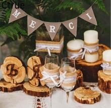 1set Vintage Hessian Burlap thank you Merci Banner Pennant Rustic Wedding Decoration Birthday Party Bunting Christmas new year
