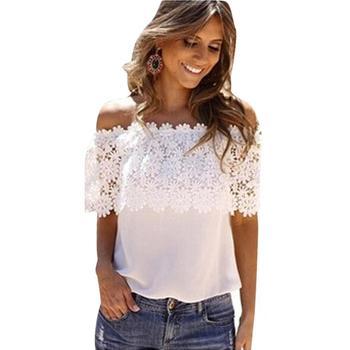 564725cd4f2 Пикантные Для женщин с открытыми плечами Лето Повседневное Блузка Белый  Кружево крючком шифон Удобная рубашка женская одежда B2