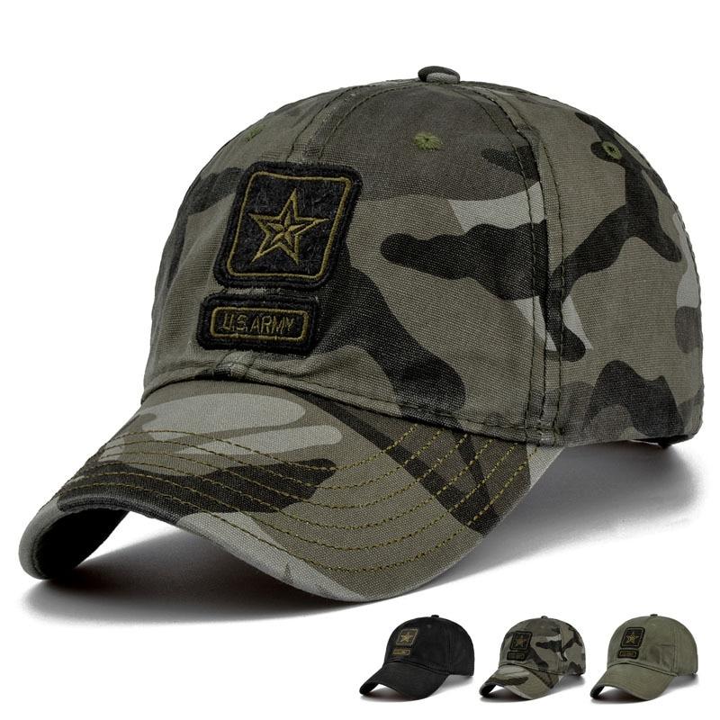 c19f4df53 New Men Pentagram Cap Top Quality U.S. Army Caps Men's Hunting Fishing Hat  Outdoor Camo Baseball Hats Adjustable