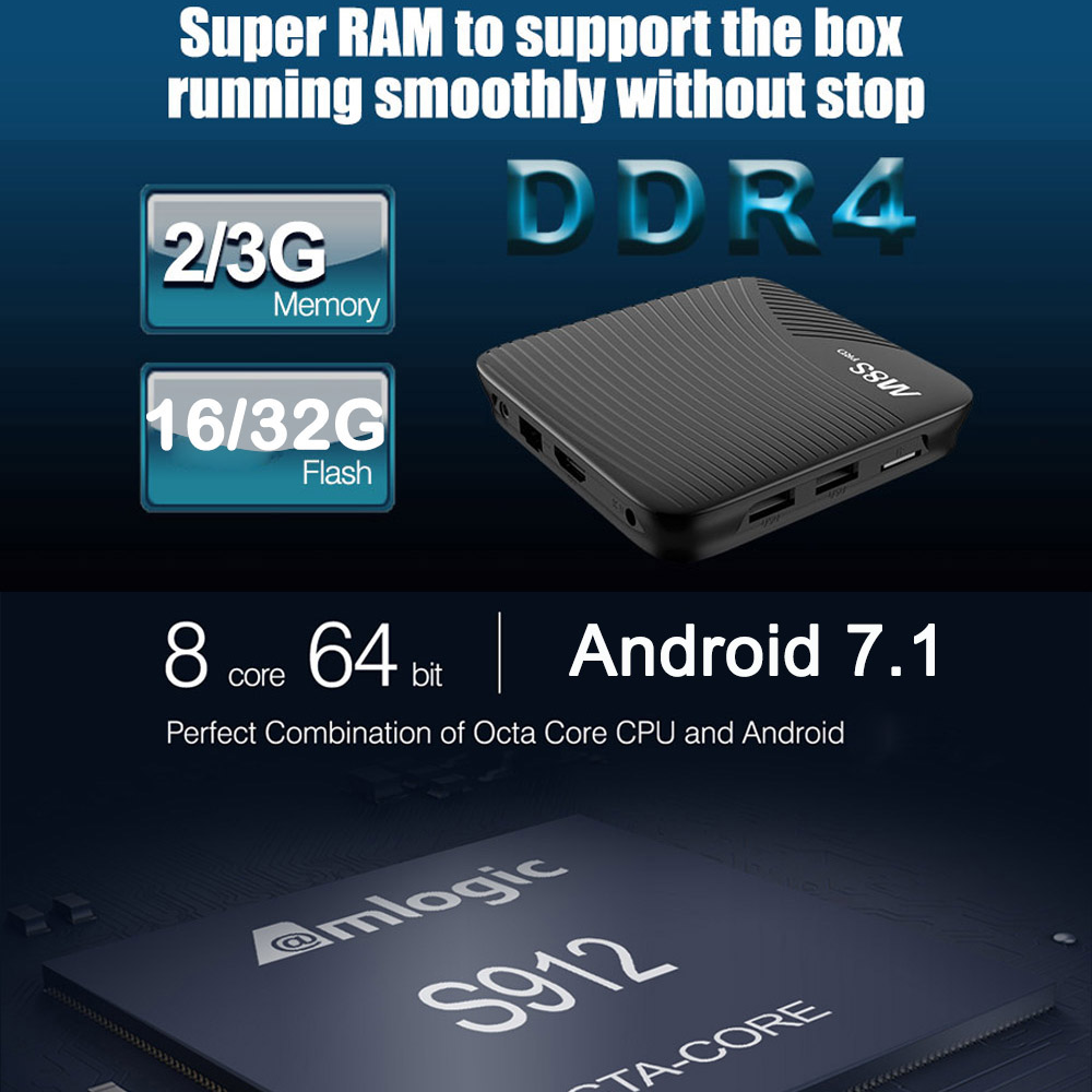 MECOOL M8S PRO Android 7.1 Smart TV Box Amlogic S912 2GB/3GB DDR4 Octa core UHD 4K H.265 Miracast Airplay WiFi BT Media Player