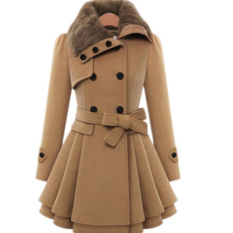 women camel hooded winter wool coat full sleeve autumn winter warm female long double button. Black Bedroom Furniture Sets. Home Design Ideas