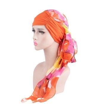 Kobiety moda Wiosna Panie Szyfonowe Szale Muzułmanin Turban Kapelusze Długie Włosy Chust Chemo Czapki Akcesoria Do Włosów Kobiet Bandany