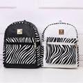 Fashion Women Backpack PU Leather Stripe/Letters Printed Schoolbag Girls Students School Rucksack Popular