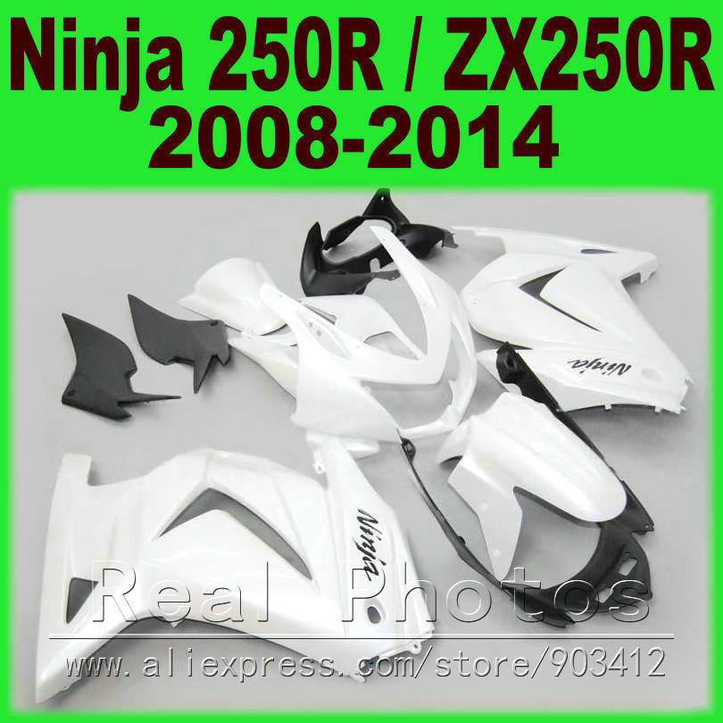 DIY all whiteFairing kit Kawasaki 250R EX250 2008 2009 2010 2011 2014 year Ninja ZX 250 08 09 10 11 12 13 14 fairing kits 3P2