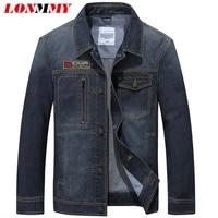 LONMMY M 3XL Denim Jacket Men Coats 80 Cotton Cowboy Blue Mens Jackets And Coats Jeans